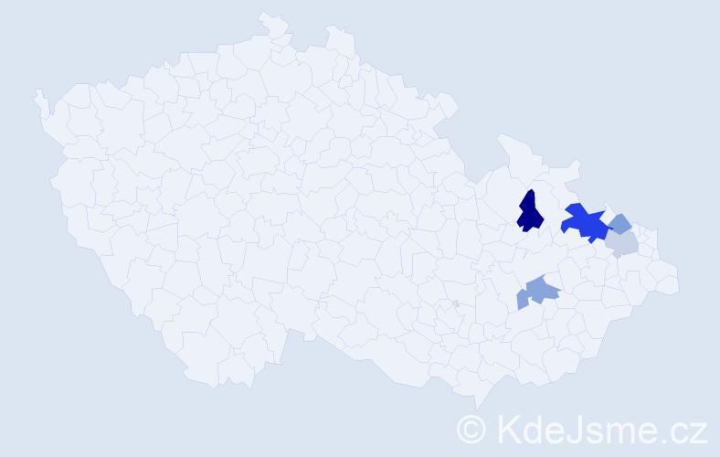 Příjmení: 'Kanovská', počet výskytů 21 v celé ČR