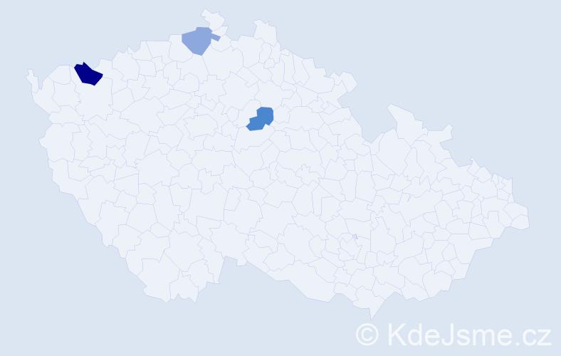Příjmení: 'Ceková', počet výskytů 4 v celé ČR