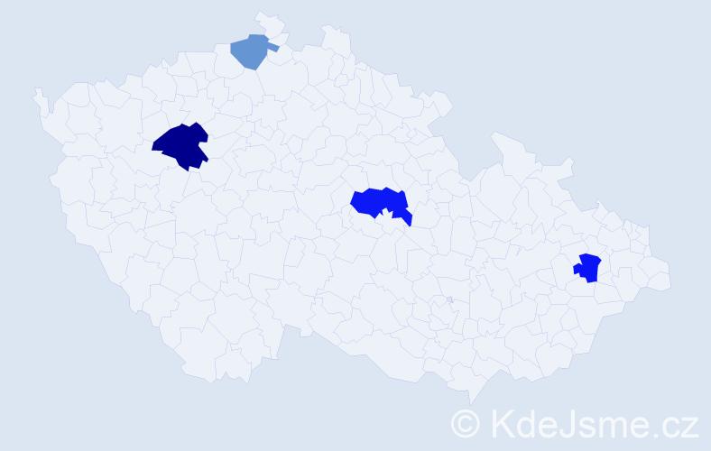 Příjmení: 'Laki', počet výskytů 19 v celé ČR