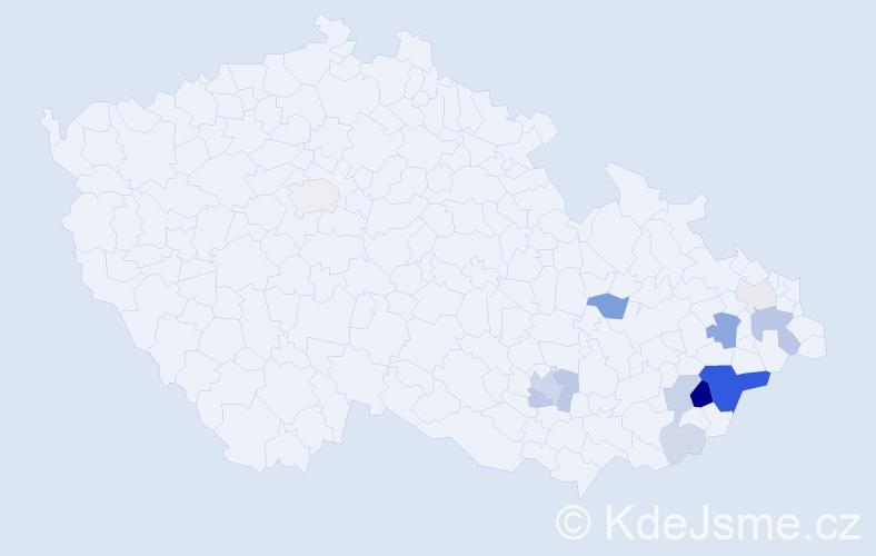Příjmení: 'Čapák', počet výskytů 38 v celé ČR