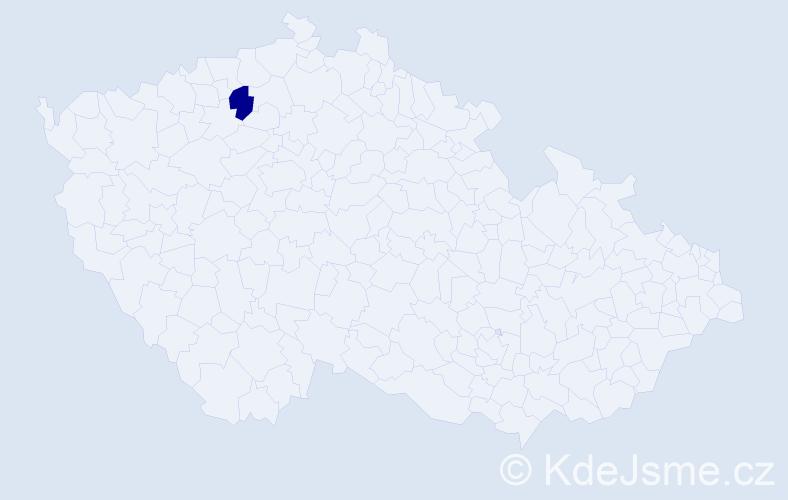 """Příjmení: '""""Henniche Křížová""""', počet výskytů 1 v celé ČR"""
