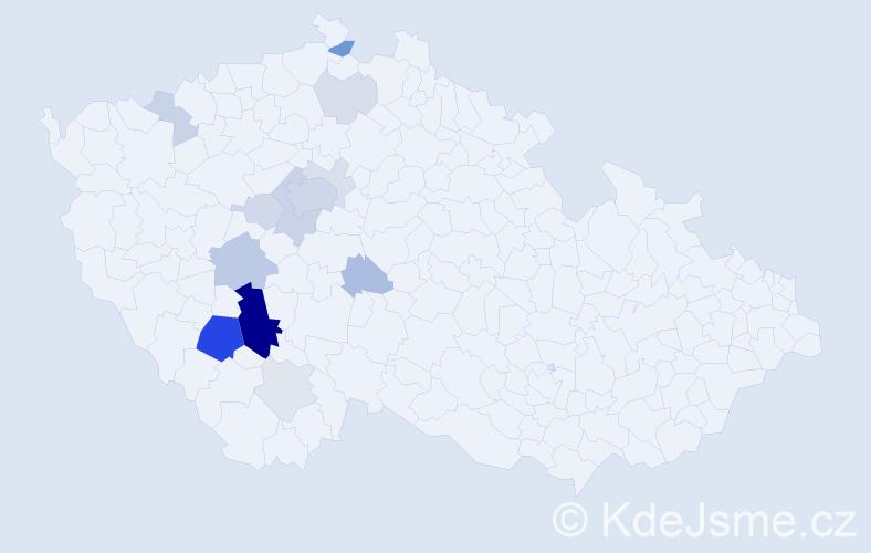 Příjmení: 'Čuřín', počet výskytů 47 v celé ČR