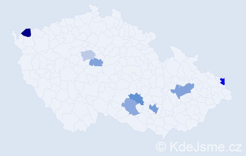 Příjmení: 'Eber', počet výskytů 20 v celé ČR