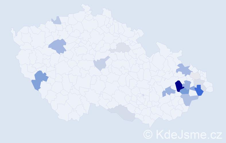 Příjmení: 'Baraňáková', počet výskytů 36 v celé ČR