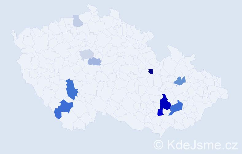 Příjmení: 'Ludl', počet výskytů 26 v celé ČR