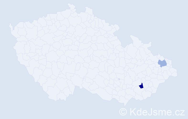 Příjmení: 'Derliová', počet výskytů 6 v celé ČR