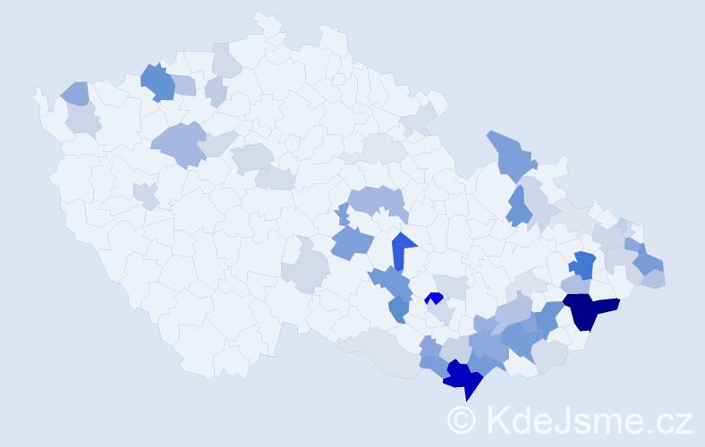 Příjmení: 'Košut', počet výskytů 205 v celé ČR