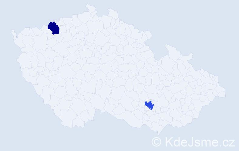 Příjmení: 'Fábian', počet výskytů 3 v celé ČR