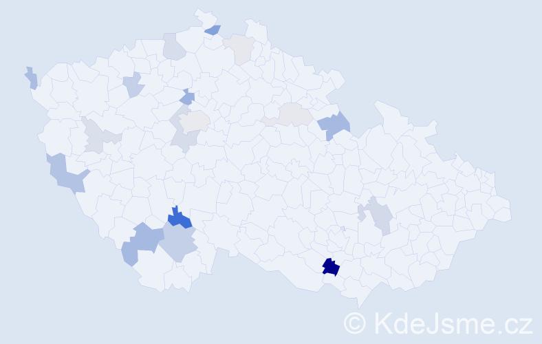 Příjmení: 'Hafnerová', počet výskytů 37 v celé ČR