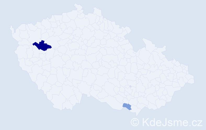 Příjmení: 'Genç', počet výskytů 5 v celé ČR