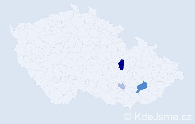 Příjmení: 'Helemíková', počet výskytů 3 v celé ČR