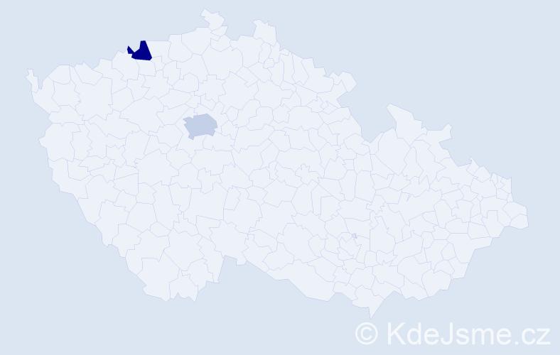 Příjmení: 'Grosamová', počet výskytů 5 v celé ČR