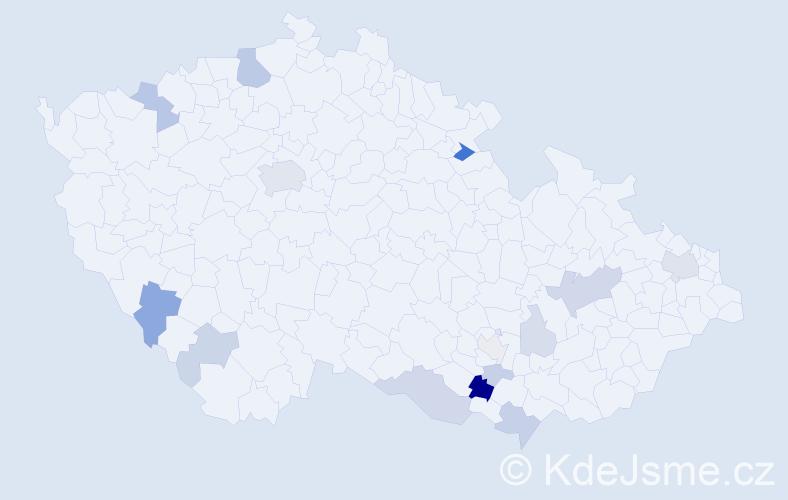 Příjmení: 'Bauch', počet výskytů 39 v celé ČR