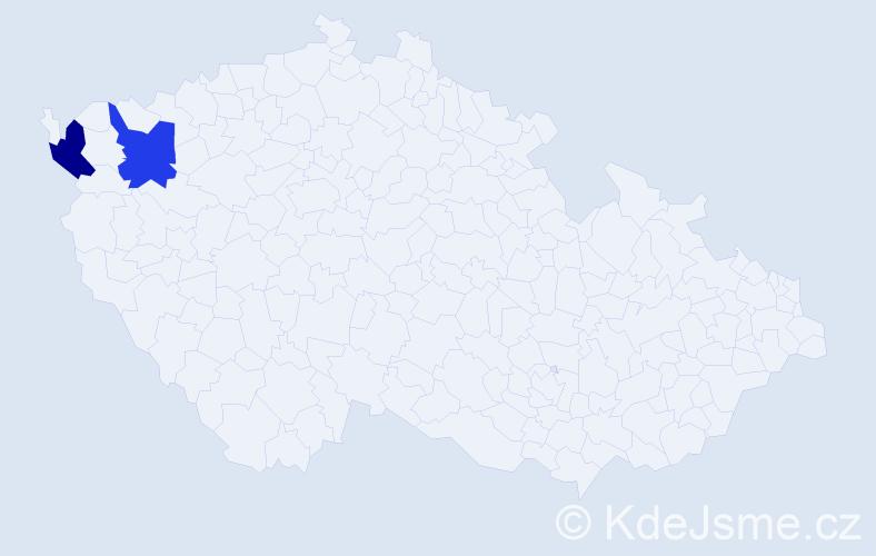 Příjmení: 'Čoláková', počet výskytů 4 v celé ČR