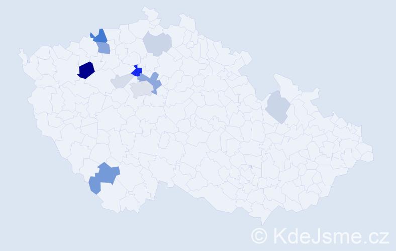 Příjmení: 'Čmerdová', počet výskytů 27 v celé ČR