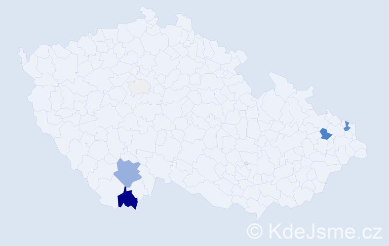 Příjmení: 'Janes', počet výskytů 12 v celé ČR