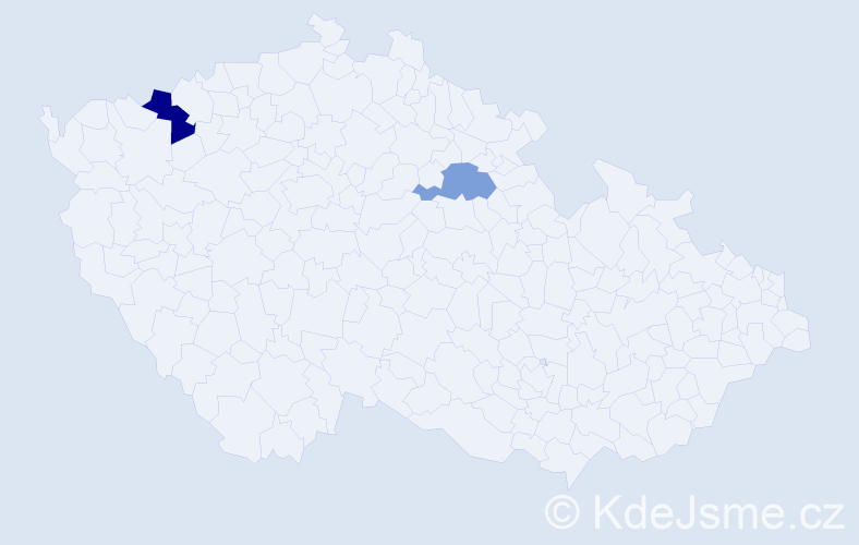 Příjmení: 'Eperješi', počet výskytů 5 v celé ČR