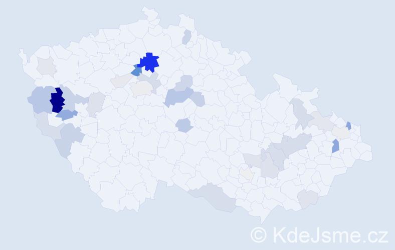 Příjmení: 'Bodišová', počet výskytů 76 v celé ČR