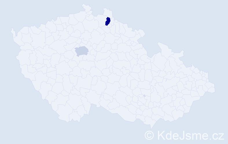 Příjmení: 'Cyhelská', počet výskytů 4 v celé ČR