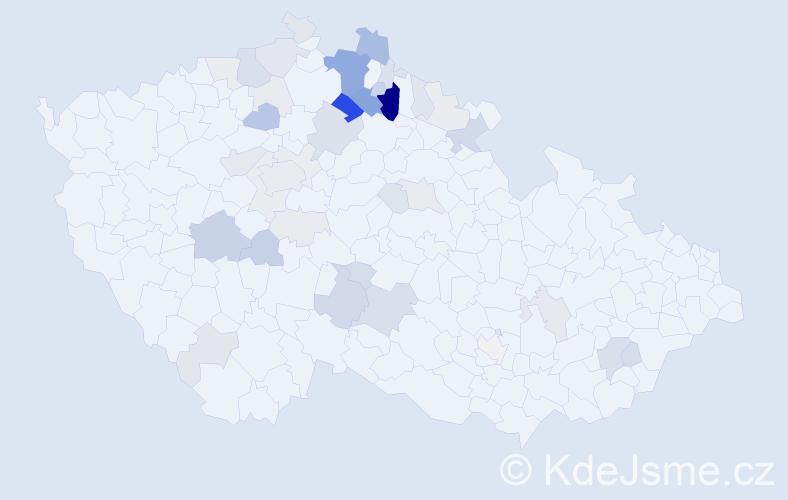 Příjmení: 'Housová', počet výskytů 145 v celé ČR