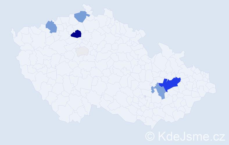 Příjmení: 'Kikal', počet výskytů 17 v celé ČR