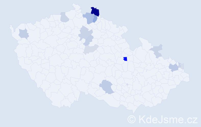 Příjmení: 'Krága', počet výskytů 37 v celé ČR