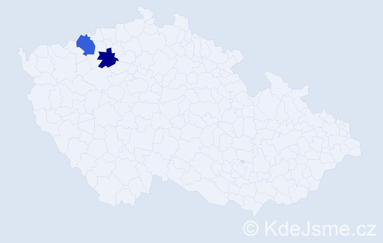 Příjmení: 'Eckardtová', počet výskytů 2 v celé ČR