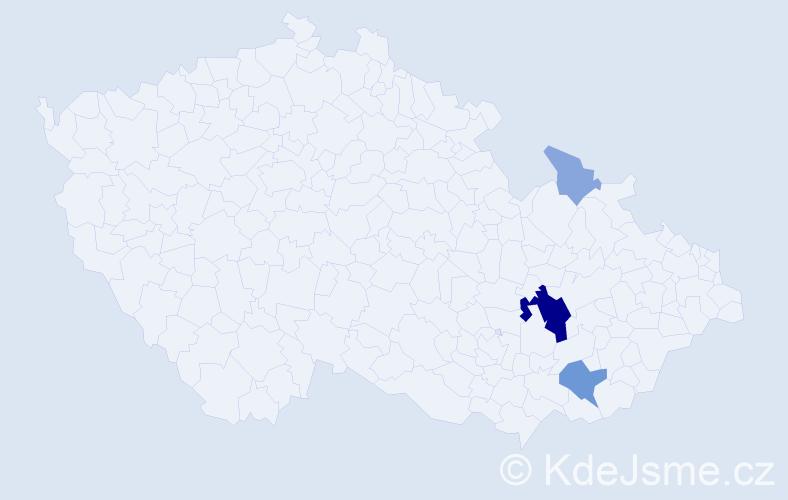 Příjmení: 'Hubál', počet výskytů 13 v celé ČR