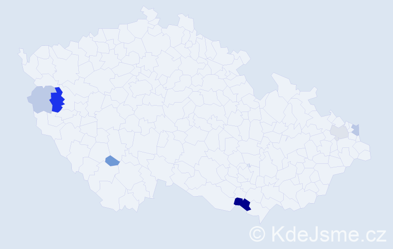 Příjmení: 'Grzybová', počet výskytů 14 v celé ČR