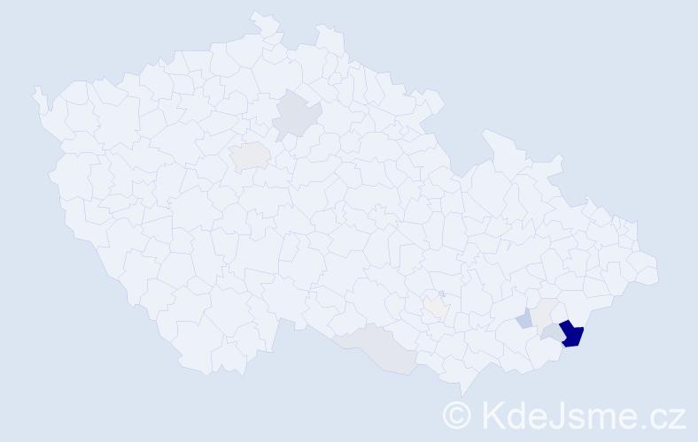 Příjmení: 'Hnaníčková', počet výskytů 40 v celé ČR