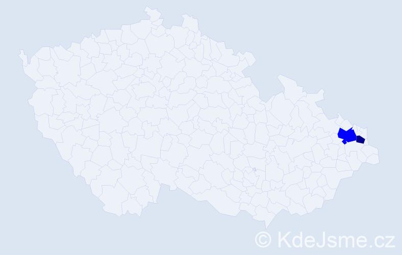 Příjmení: 'Lábajová', počet výskytů 3 v celé ČR