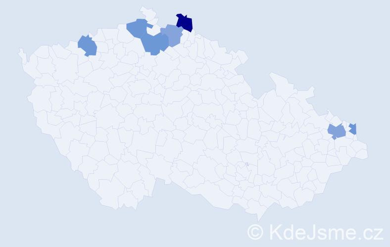Příjmení: 'Eštočák', počet výskytů 8 v celé ČR