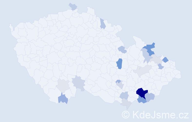 Příjmení: 'Hyráková', počet výskytů 54 v celé ČR