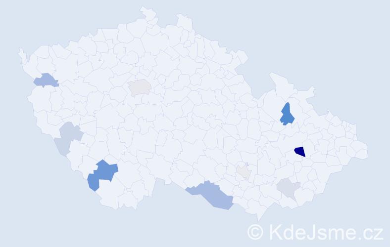 Příjmení: 'Ištók', počet výskytů 20 v celé ČR
