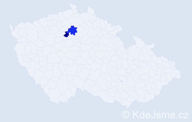 Příjmení: 'Jakoubi', počet výskytů 8 v celé ČR