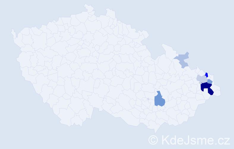Příjmení: 'Čtvrtka', počet výskytů 30 v celé ČR
