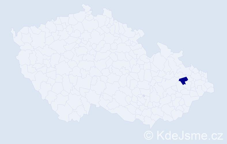 """Příjmení: '""""Kočtářová Andělová""""', počet výskytů 1 v celé ČR"""
