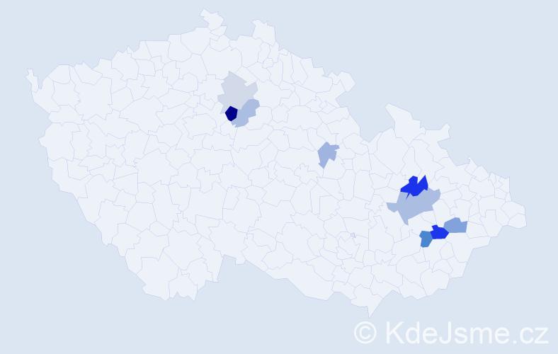Příjmení: 'Laibner', počet výskytů 19 v celé ČR