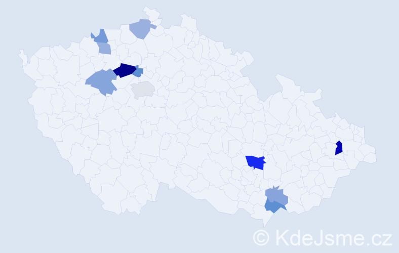 Příjmení: 'Demovičová', počet výskytů 19 v celé ČR