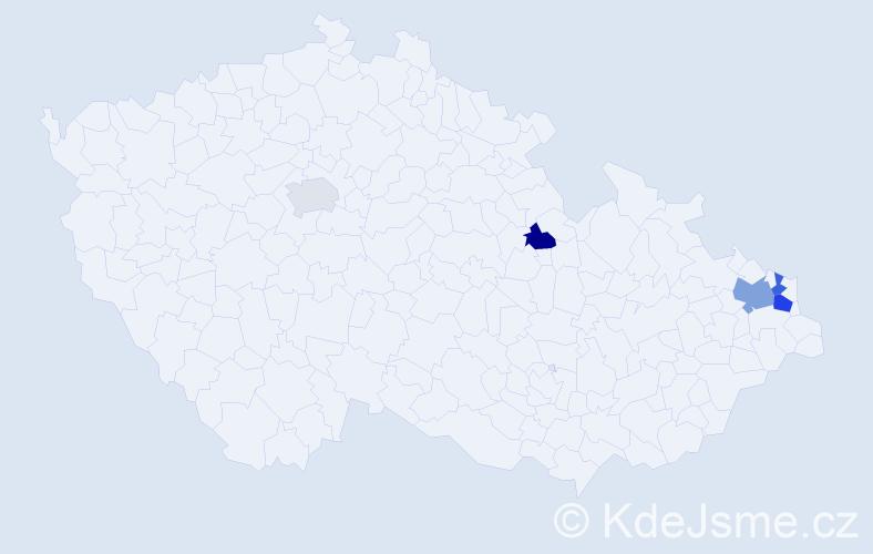 Příjmení: 'Kokinda', počet výskytů 7 v celé ČR