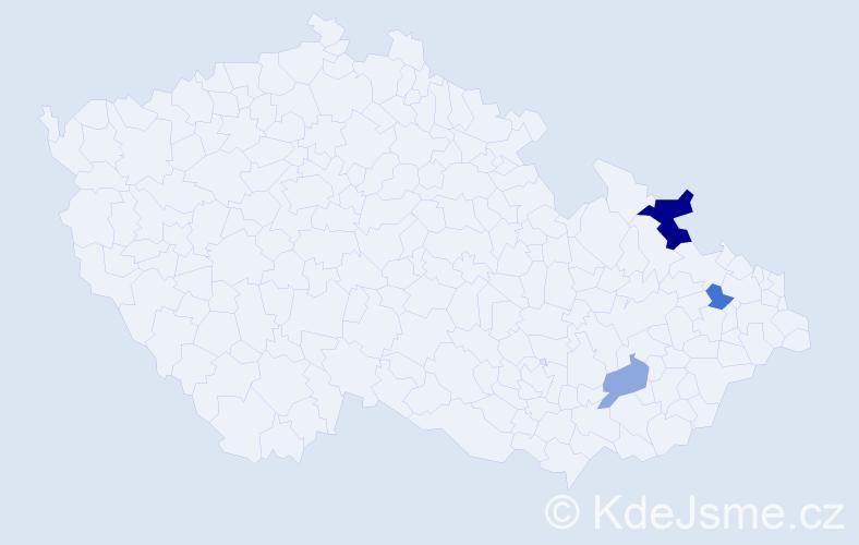 Příjmení: 'Ftáčniková', počet výskytů 5 v celé ČR