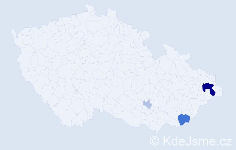 Příjmení: 'Ivičic', počet výskytů 5 v celé ČR
