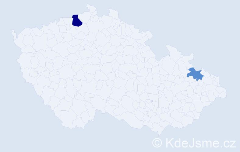 Příjmení: 'Česlák', počet výskytů 7 v celé ČR