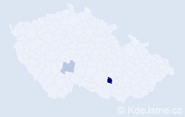 Příjmení: 'Čeléniová', počet výskytů 4 v celé ČR