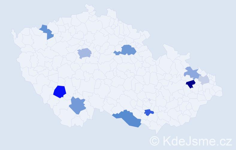 Příjmení: 'Ďurkovičová', počet výskytů 19 v celé ČR