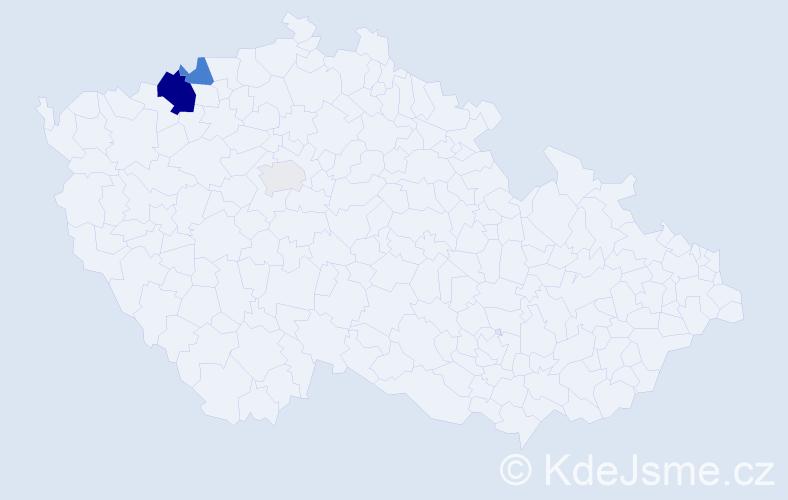 Příjmení: 'Hvozdová', počet výskytů 10 v celé ČR