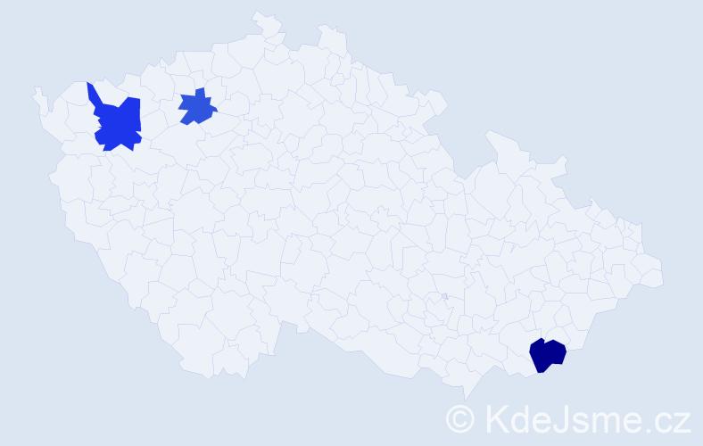 Příjmení: 'Čičalová', počet výskytů 10 v celé ČR