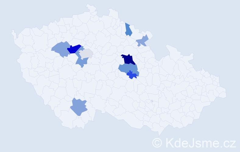 Příjmení: 'Černohubý', počet výskytů 25 v celé ČR