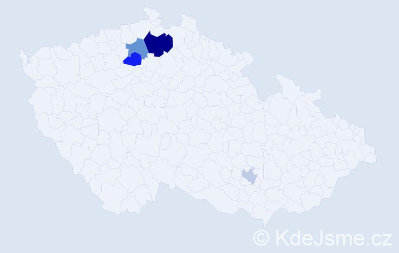 Příjmení: 'Hančín', počet výskytů 6 v celé ČR