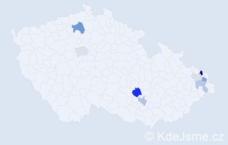 Příjmení: 'Grejtáková', počet výskytů 17 v celé ČR